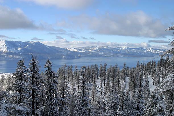 alpine lake, bäume und berge im winter. - lake tahoe winter stock-fotos und bilder