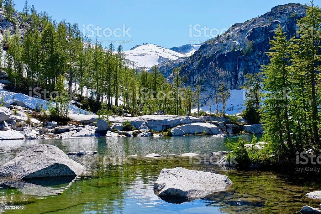 Alpine lake, trees and mountains. – Foto
