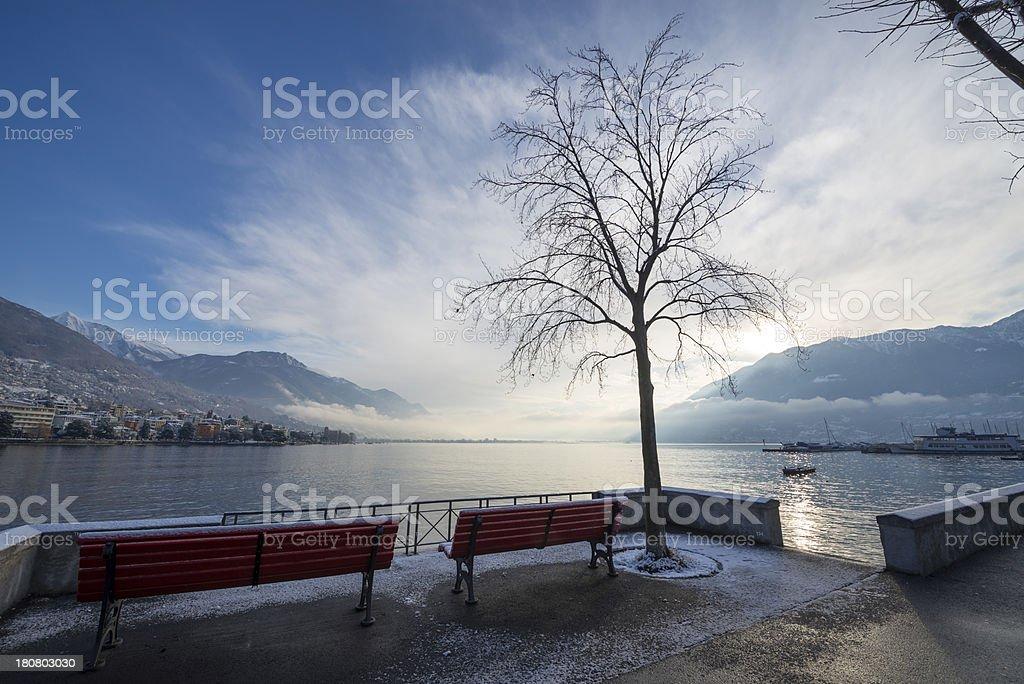 Alpine lake with mountain stock photo