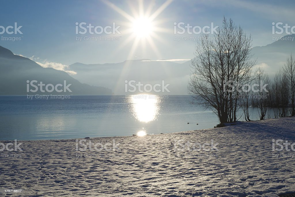 Alpine lake with snow stock photo