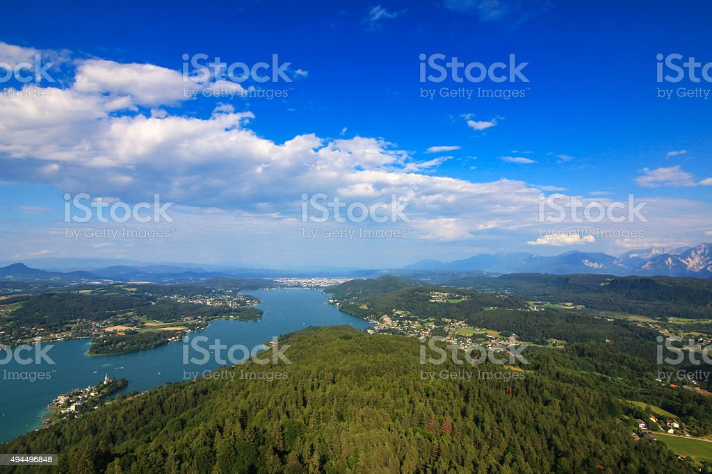 Alpine lake -  Woerthersee in Carinthia, Austria stock photo