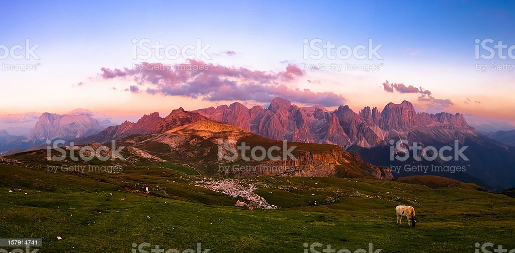 Alpine Landscape at Sunset, Dolomites, Italian Alps Mountain Panoramic stock photo