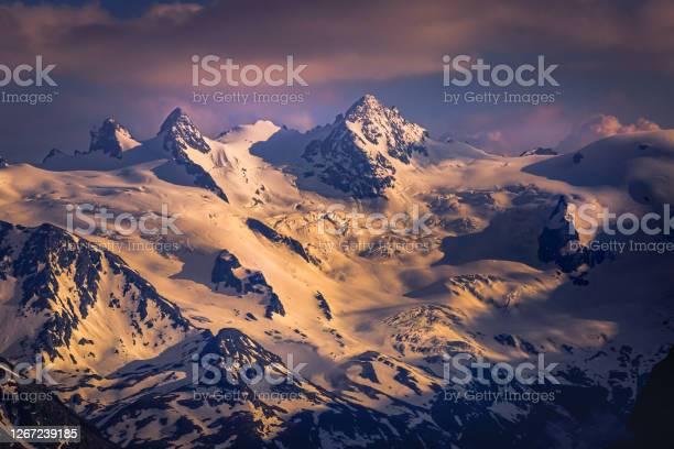 Photo of Alpine landscape: Diavolezza and Piz Bernina at sunset – Engadine – Switzerland
