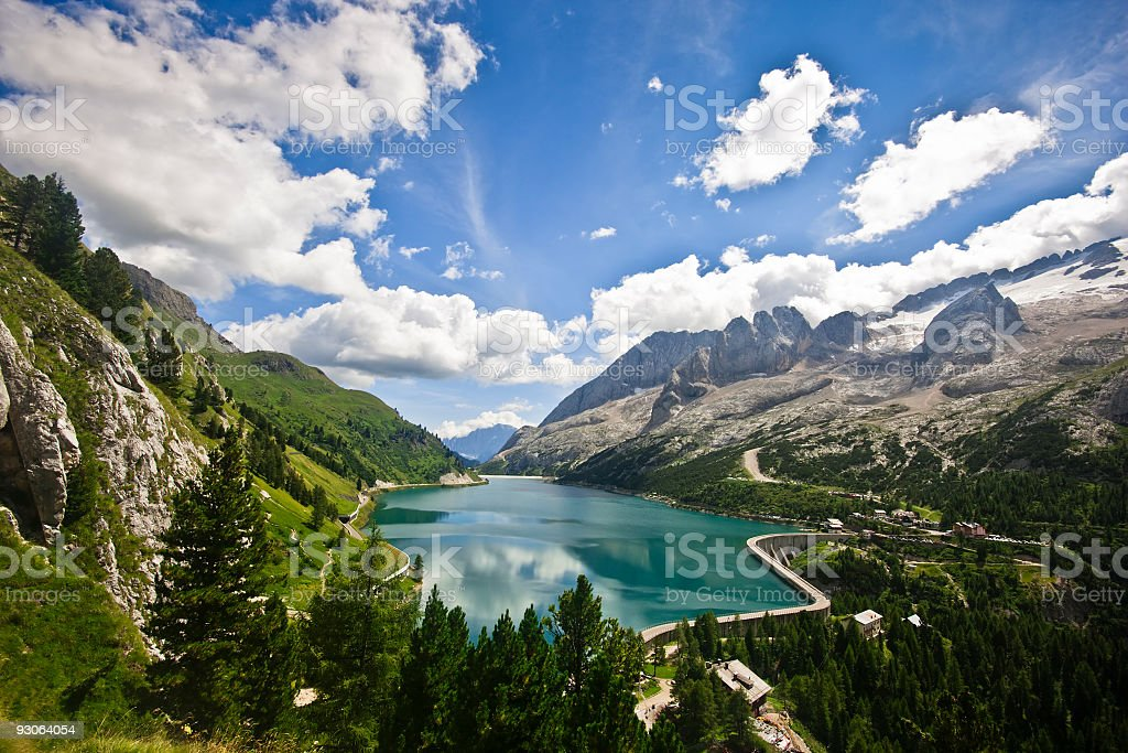 Alpine Landscape with Fedaia Lake, Dolomites in Summer stock photo