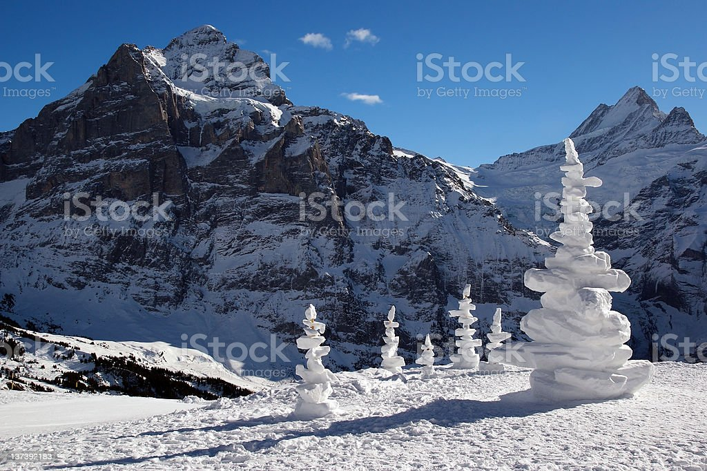 Alpine landscape with snow sculptures. royalty-free stock photo