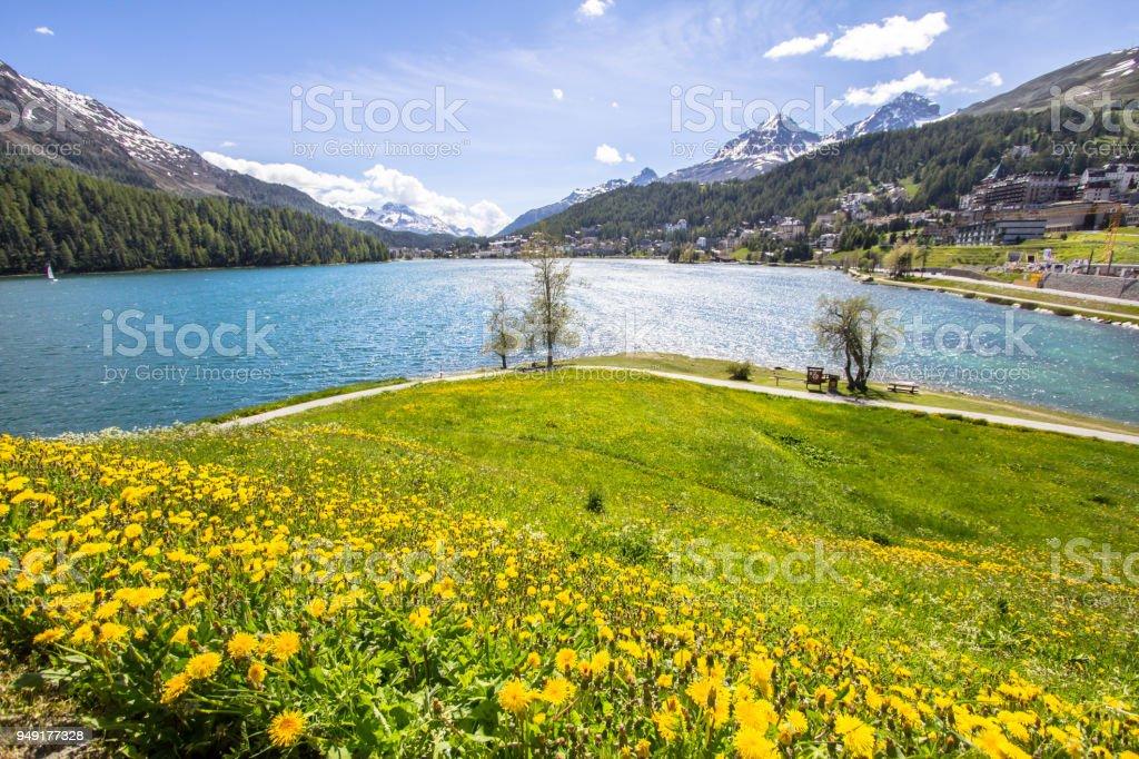 Alpine landscape with St Moritz lake, Switzerland stock photo