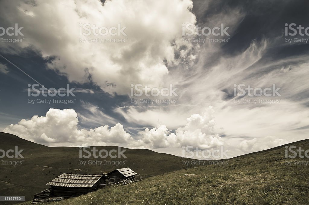 Alpine meadow and sky royalty-free stock photo