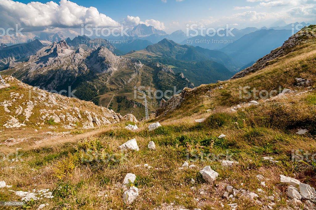 Alpine meadow - Dolomites stock photo