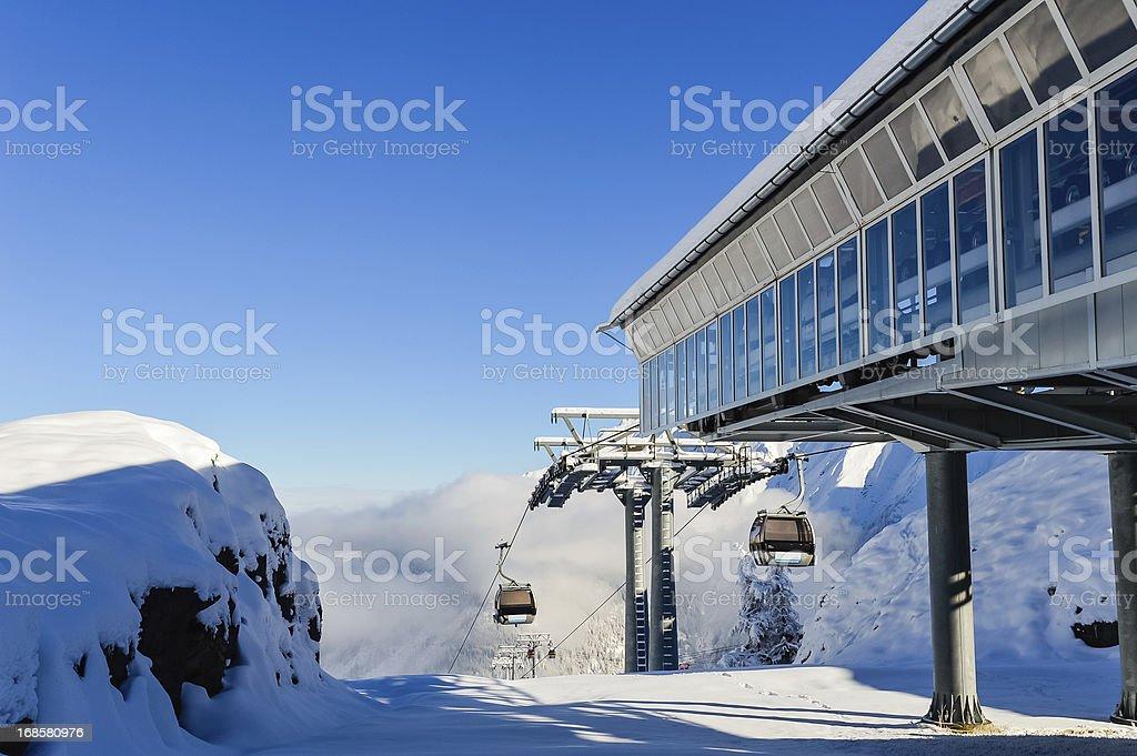 Alpine Mountain Cable Car stock photo