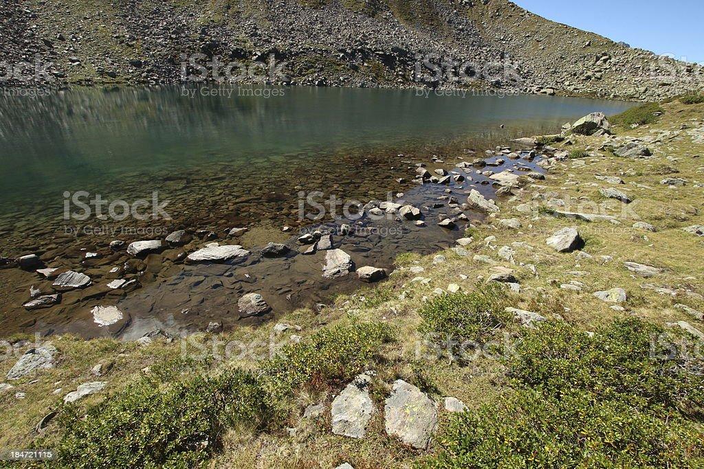 Alpine Mountain Lake Mittlerer Plenderlesee, Kühtai, Tyrol, Austria royalty-free stock photo