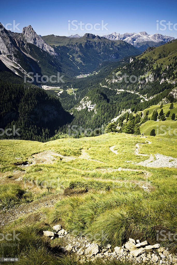 Alpine Mountain Landscape Dolomites Italy Valley View Nobody royalty-free stock photo
