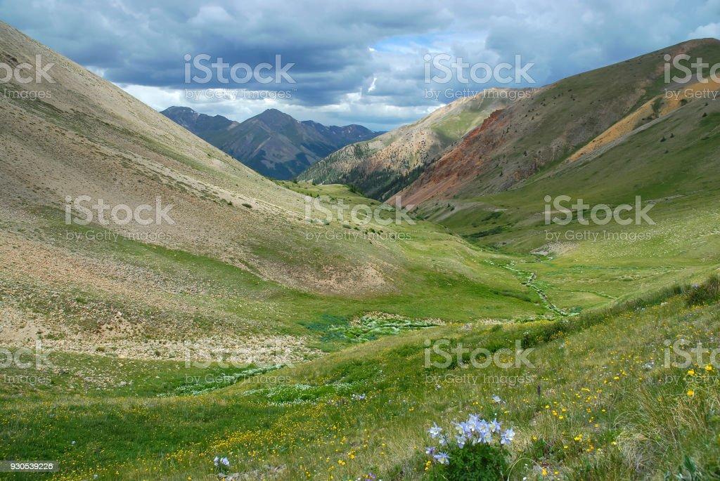 Alpine mountain landscape in San Juan Range, where many Colorado 14ers are located stock photo