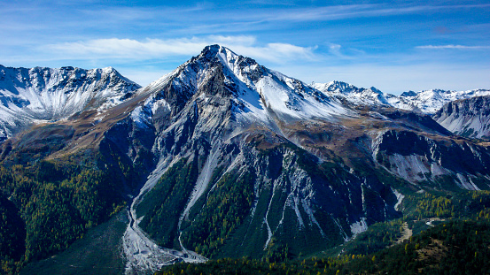 Alpine Mountain Landscape In The Late Fall With The First Snows Covering The Summit Stock Photo - Download Image Now