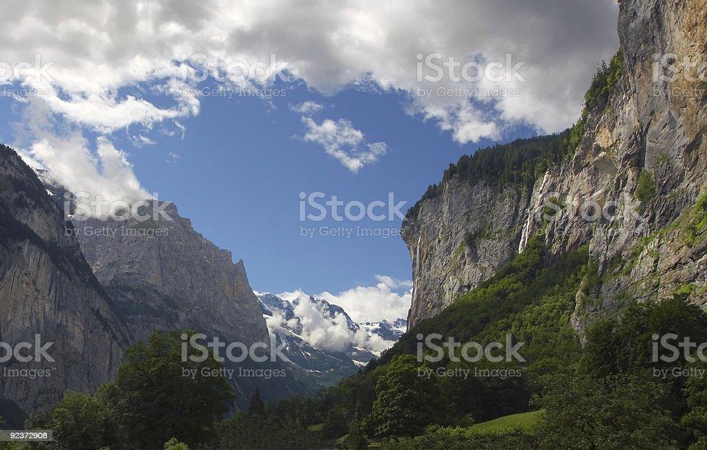 Alpine mountain landscape, Lauterbrunnen Valley - Bernese Alps - Switzerland royalty-free stock photo