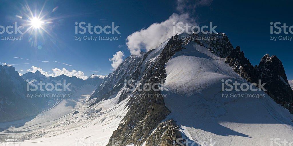 Alpine mountain sunburst royalty-free stock photo