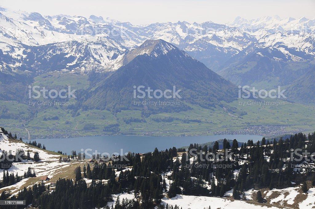 Alpine mountain village and lake at switzerland stock photo