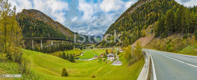 panoramic view of the Alps mountains; Brenner Pass, Austria