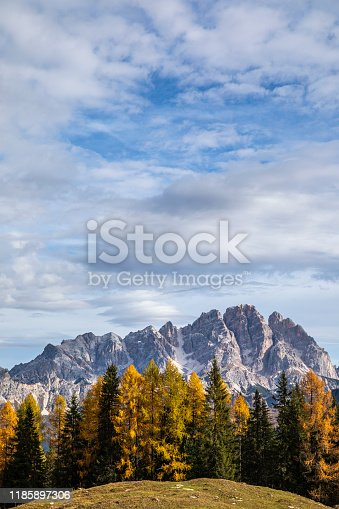 Panorama of the Dolomites mountains in autumn