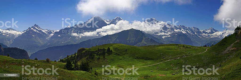Alpine Panorama: Eiger, Monch and Jungfrau stock photo