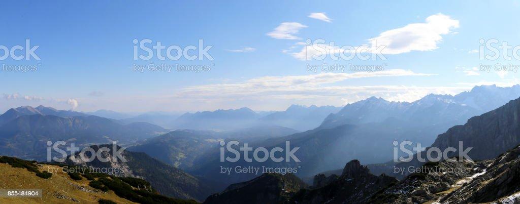 Alpine panorama (Northern Alps) stock photo