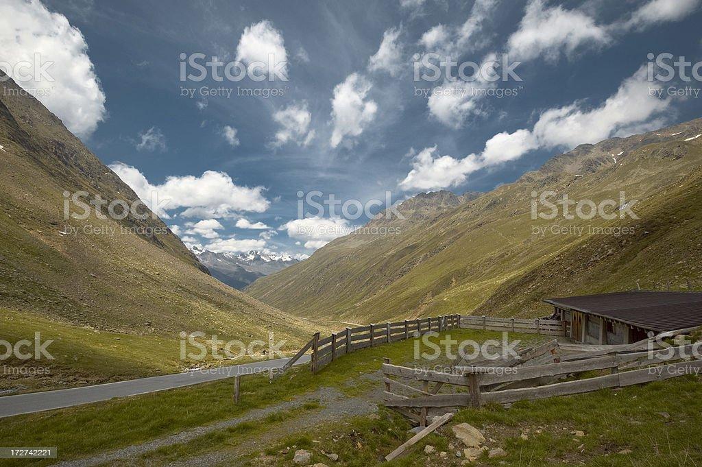 Alpine Pass with Mountain Pasture royalty-free stock photo