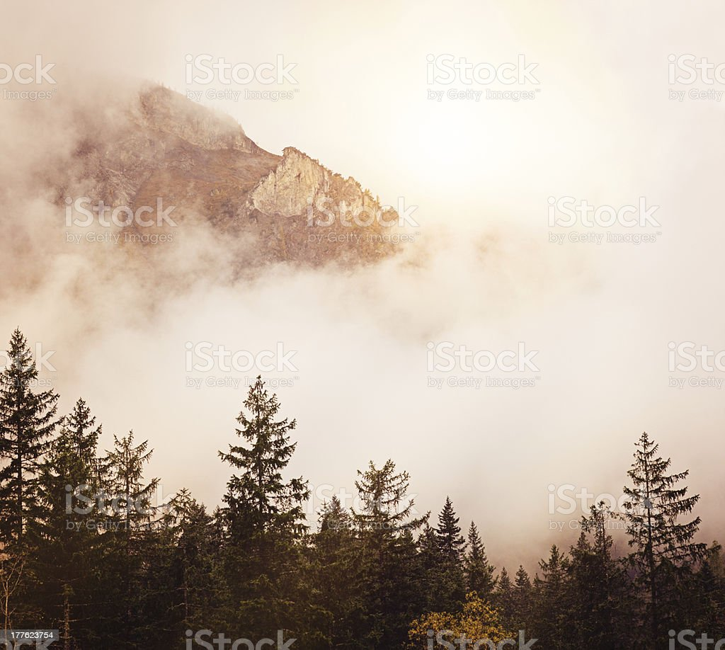 Alpine peaks in fog royalty-free stock photo