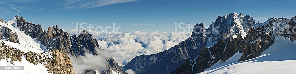 Alpine peaks panorama dramatic snow cloud summits Alps Italy royalty-free stock photo