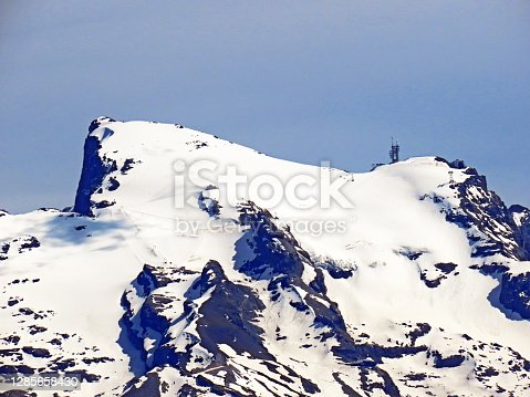 Alpine peaks Titlis and Klein Titlis above the Engelbergtal and in the Uri Alps moutain range from the Pilatus massif, Alpnach - Canton of Nidwalden, Switzerland (Schweiz)