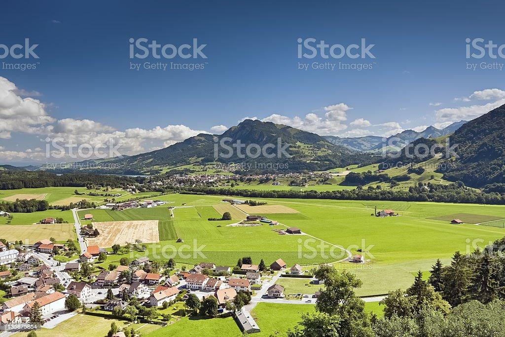 Alpine rural landscape, Gruyere - Switzerland stock photo