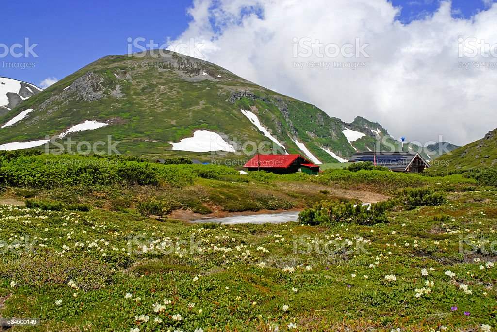 Alpine scene with snow and mountains in Daisetsuzan National Park stock photo