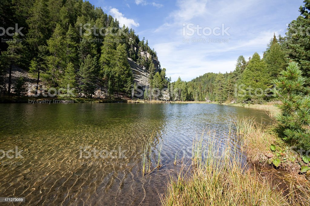 Alpine Scenery and Crystal Clear Pond at Surlej, Engadine, Switzerland stock photo