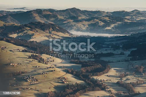 900763322 istock photo Alpine scenery from the air through the airplane window 1088429296