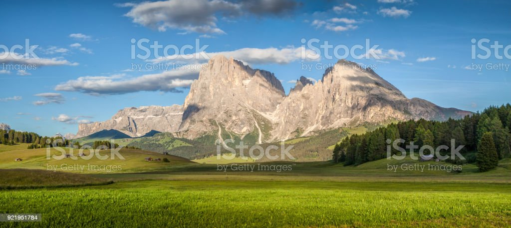 Alpine scenery in the Dolomites with famous Langkofel mountain summit at Alpe di Siusi at sunset, South Tyrol, Italy stock photo