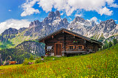 istock Alpine scenery with mountain chalet in summer 1252943029