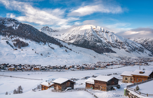 Alpine Ski Resort And Ski Slopes in Winter, Livigno