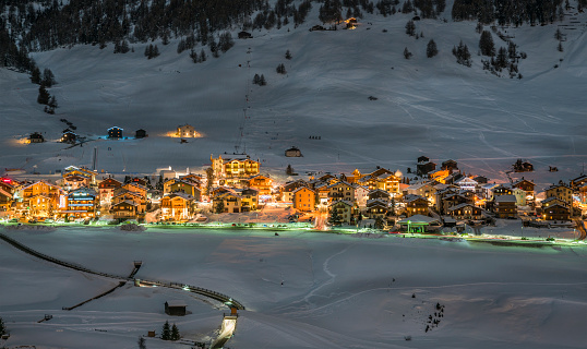 Alpine Ski Resort At Night,  Winter Scenery, Livigno