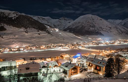 Alpine Ski Resort At Night,  Winter Scenery, Livigno