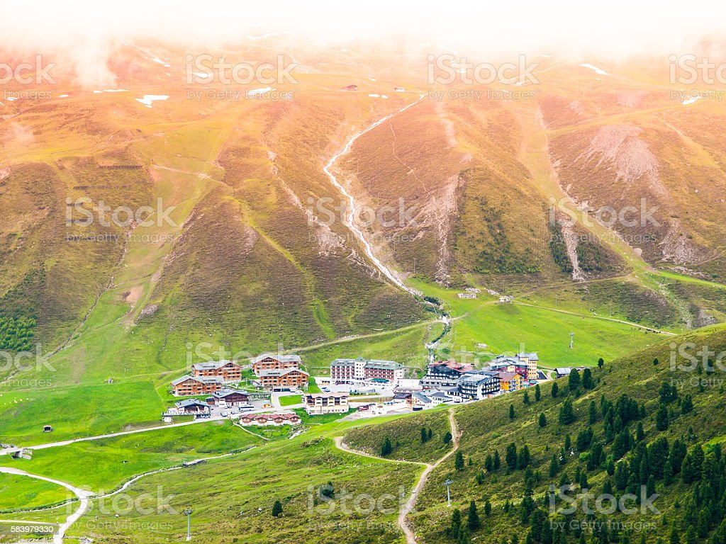 Alpine ski resort Kuthai in summer season stock photo