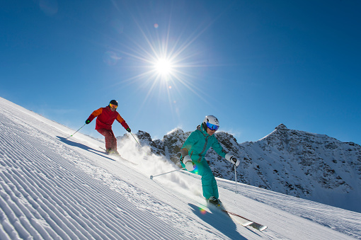 alpine skiing in the alp mountains