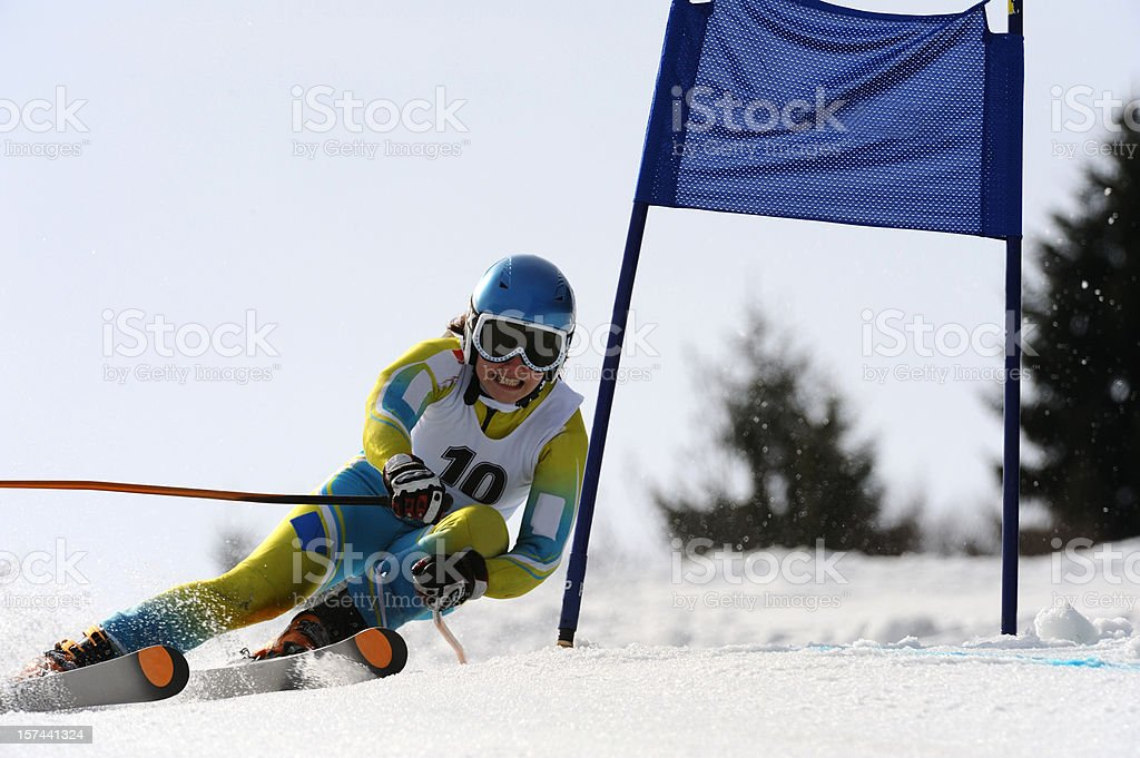 Alpine skiing race stock photo