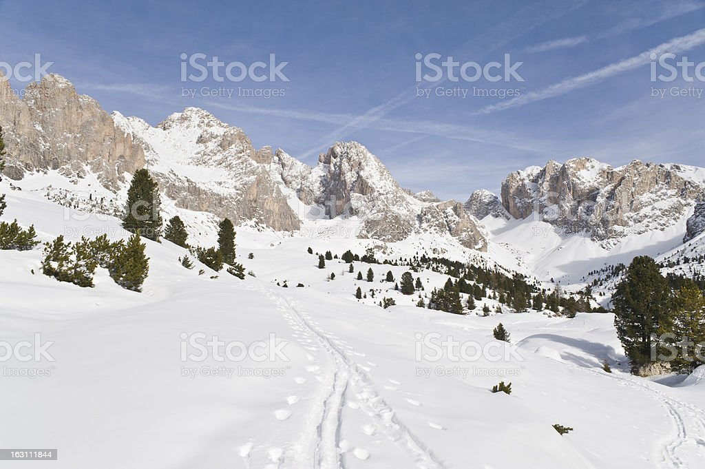 Alpine Skiing trails in the Snow stock photo