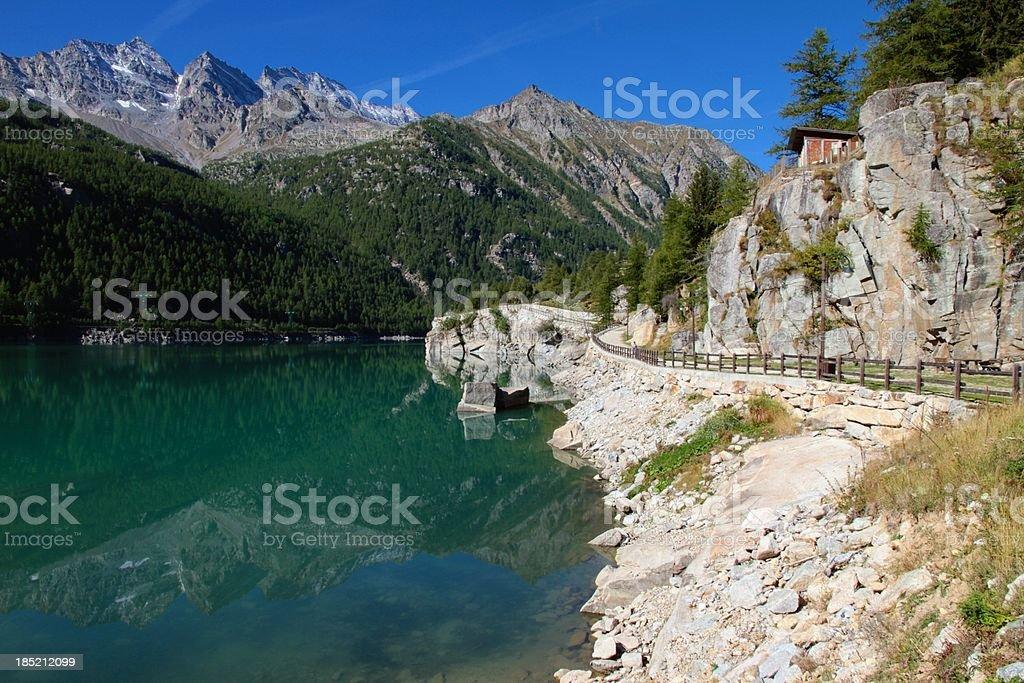 Alpine small lake stock photo