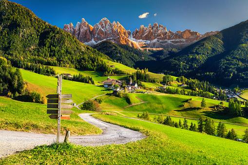 Alpine spring landscape with Santa Maddalena village, Dolomites, Italy, Europe