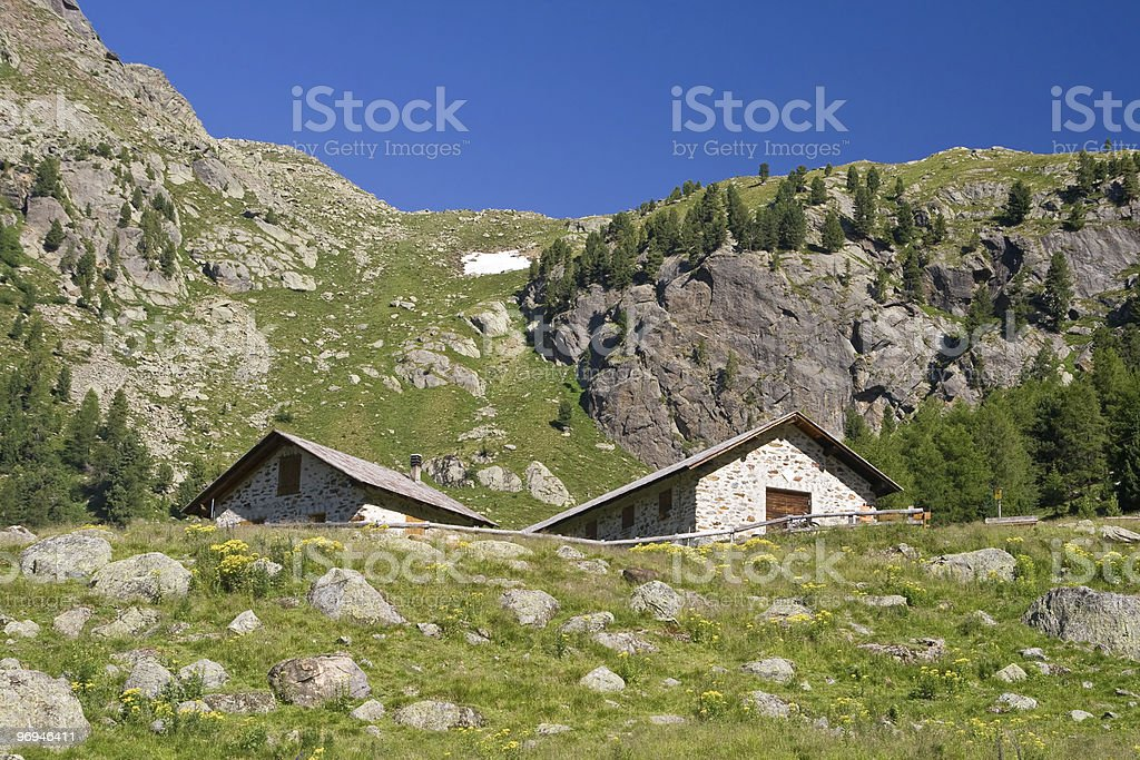 alpine stone houses royalty-free stock photo