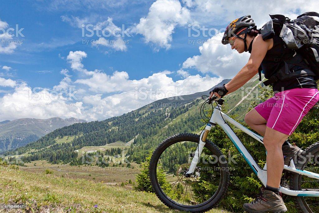 Alpine summer mountainbiking, South Tyrol stock photo