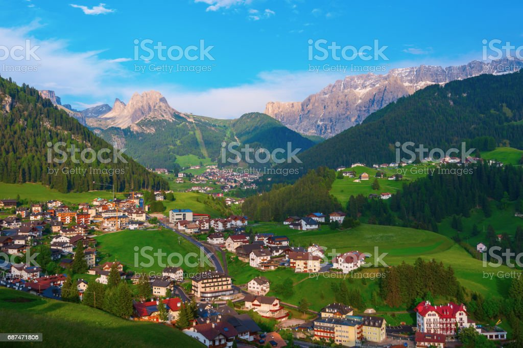 Alpine town of Selva di Val Gardena, Italy stock photo