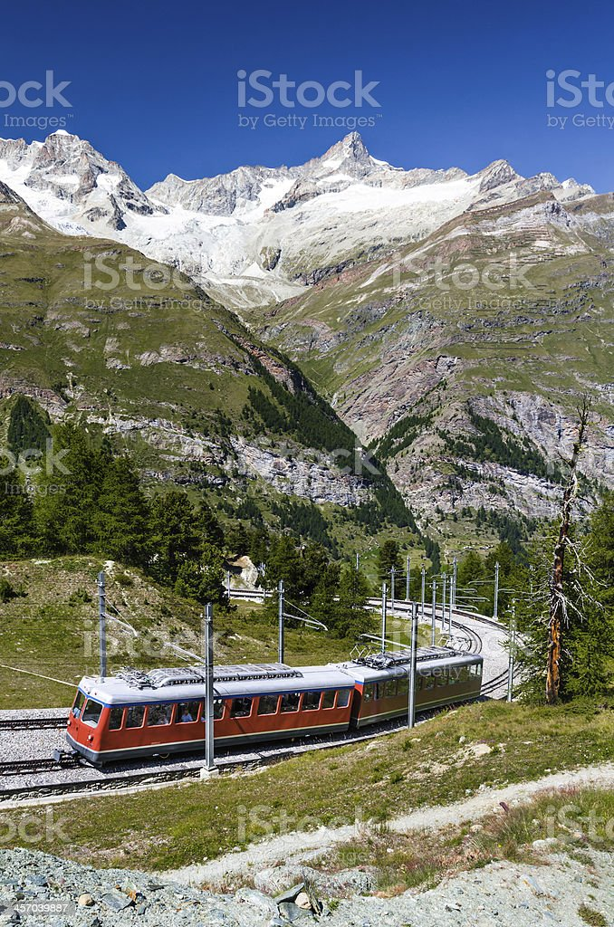 Alpine train in Switzerland, Zermatt stock photo