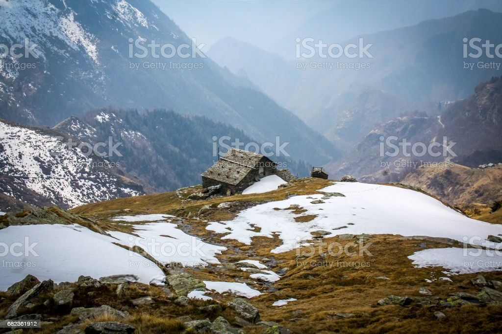 Trekking alpino Pianello Rimella royalty-free stock photo