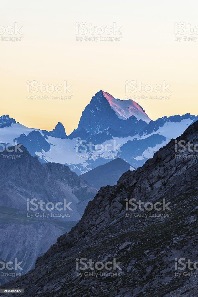 Alpine twilight stock photo