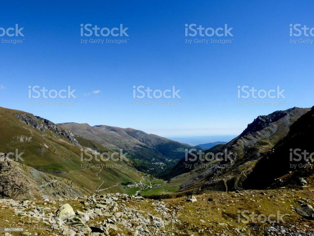Alpine valley, Pian Del Re, Piedmont, Italy royalty-free stock photo